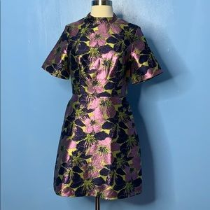 ASOS High Neck Mini Dress in Floral Jacquard Sz 6
